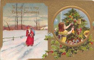 F99/ Santa Claus Christmas Postcard c1910 Snow Kids Tree 2View 1
