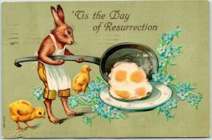 1909 EASTER Embossed Postcard DRESSED RABBIT Cooking Eggs for Baby Chicks