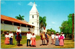 1960s Panama Postcard Montunos of OCU, Los Santos Province Church Street View