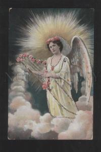 070091 Winged Lady as ANGEL w/ HARP vintage PC