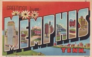 Large Letter Greeting MEMPHIS , Tennessee , 30-40s