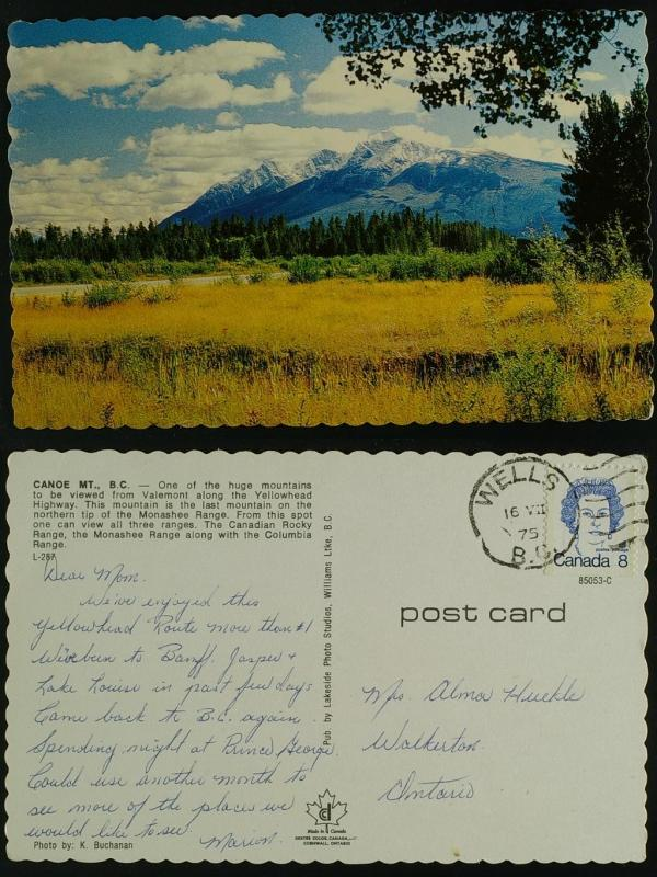 Canoe Mountain-BC, pmkd Wells BC duplex 1975