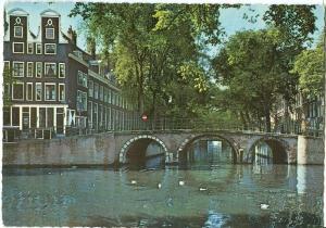 Amsterdam, Bridge across the Leidsegracht, 1960s Postcard