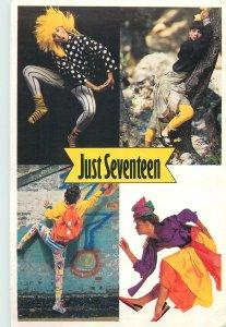 Postcard Advert Just seventeen multi view costume dress woman hairstyle fashion