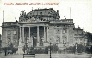 Germany Wiesbaden Nassauisches Landesteater u Schillerdenkmal 02.62
