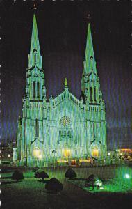 Canada Quebec Ste Anne De Beaupre The Basilica At Night