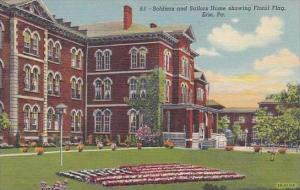 Pennsylvania Erie Soldiers And Sailors Home Showing Floral Flag 1944