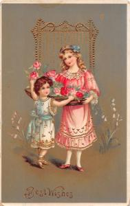 BEST WISHES VERY FANCY VICTORIAN GREETING POSTCARD 1913