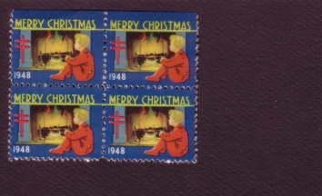 Block of Christmas Seals, 1948