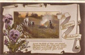 Field scene. Horse. Flowers. Birthday Message Tuck Birthday Ser. PC # 2401