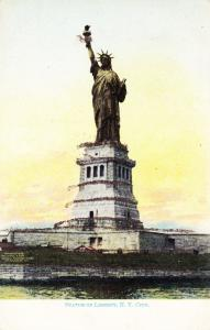 Antique Postcard, Statue of Liberty, New York, Glitter Accents  Undiv Back  E04