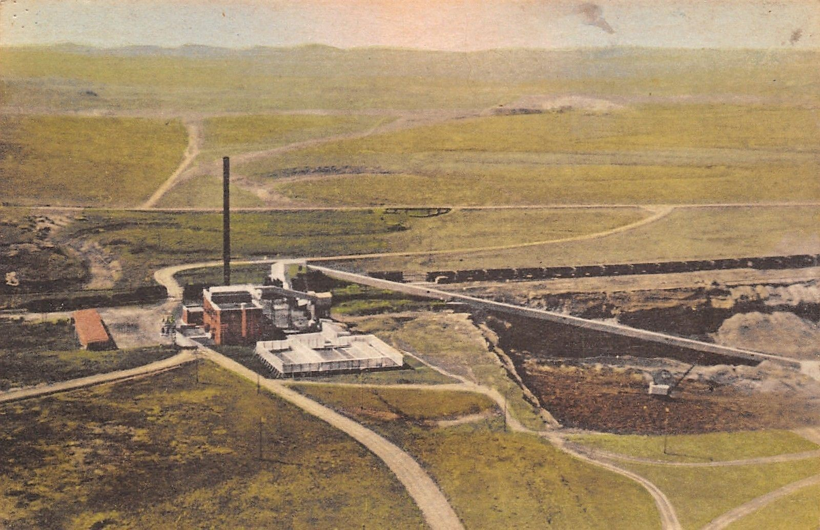 Gillette Wyoming~Birdseye Wyodak Coal Mine~1920s Handcolored ...