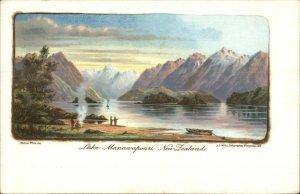New Zealand Lake Manawapouri Images on Both Sides c1900 Postcard