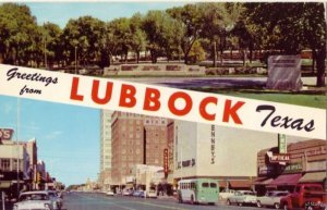 GREETINGS FROM LUBBOCK, TX BROADWAY LOOKING WEST AND MACKENZIE STATE PARK