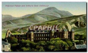 Old Postcard Edinburgh Holyrood Palace Fountain and Arthur's Seat
