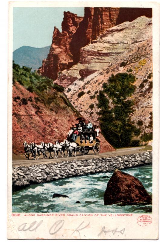 YELLOWSTONE, DETROIT PUBLISHING, ALONG GARDINER CANYON, 1902