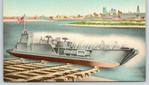 Kansas City Missouri~Navy Vessel Goes Down Ways @ Harry Darby's Shipyard~1940s