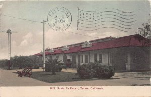 Santa Fe Railroad Depot, Tulare, CA., early hand colored postcard, used in 1908