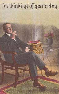 I'm Smoking & Thinking Of You Antique Cigarette Love Postcard
