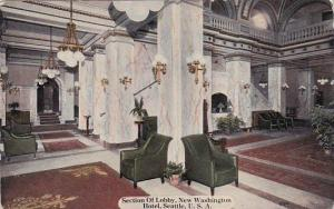 Washington Seattle Interior Section Of Lobby Washington Hotel 1913