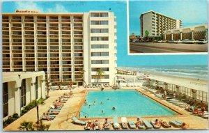 Daytona, Florida Postcard AMERICANO BEACH LODGE Pool / Beach View 1976 Cancel