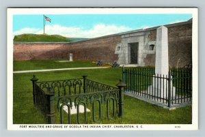 Charleston SC, Fort Moultrie & Grave Oceola, Vintage South Carolina Postcard