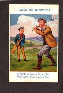 Comic Valentine Greetings Postcard Caddy Golf Course Golfing Golfer Fuss No. 9