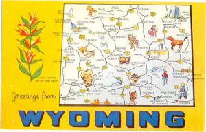 Greetings from Wyoming Equality State WY Map Card