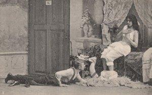 Man Grovelling Worship Dominant Woman German Fetish Antique Postcard