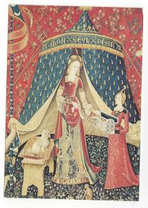 French Tapestry Lady and Unicorn My Sole Desire Panel Detail 1973 Postcard 4X6