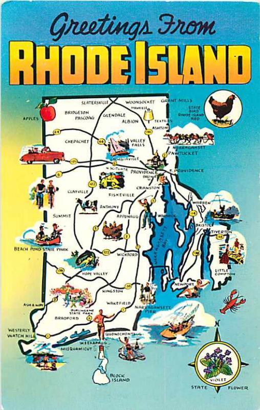 Greetings from Rhode Island Map Postcard RI