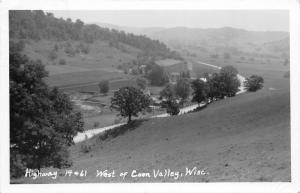 F15/ Coon Valley Wisconsin RPPC Postcard 1954 Highway 14 & 61