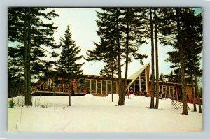 New London NH- New Hampshire, King Ridge, Lodge, Trees, Chrome Postcard