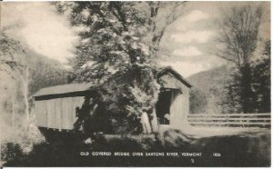 Old Covered Bridge over Saxtons River Vermont Black and White Photograph Vintage