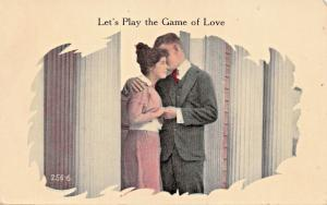 LETS PLAY THE GAME OF LOVE-ROMANCE POSTCARD 1910s