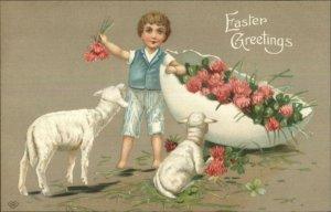 Easter - Fancy Boy Lambs Flowers in Egg Shell c1910 Embossed Postcard