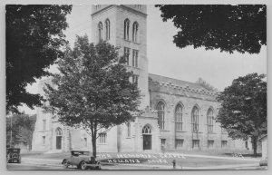 Holland Michigan~1920s Cars~Memorial Chapel~Gothic Architecture RPPC Postcard