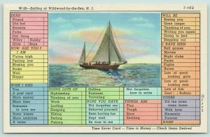Wildwood by the Sea New Jersey~Busy Sailing Person Correspondence Postcard~1938
