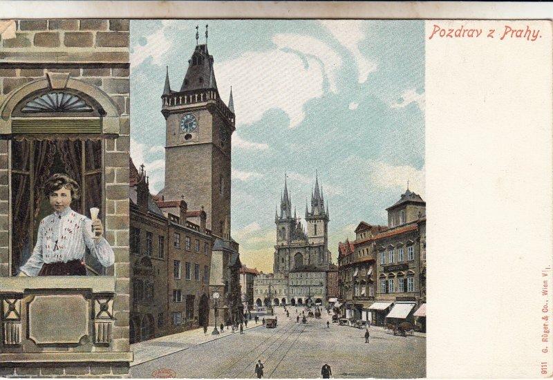 P1872 old postcard pozdrav z prahy, Czech Republic street view woman etc