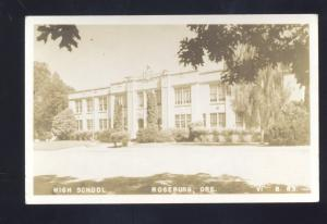 RPPC ROSEBURG OREGON HIGH SCHOOL BUILDING VINTAGE REAL PHOTO POSTCARD