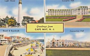 CAPE MAY NEW JERSEY~HOTEL-MULT IMAGE GREETINGS POSTCARD 1940s LIGHTHOUSE-BEACH