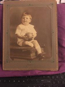 Antique Portrait Photo, Hartsook Studio Little Boy, Toddler holding ball