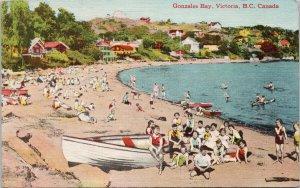 Victoria BC Gonzalez Bay People at Beach Unused Linen Coast Pub Co Postcard G30