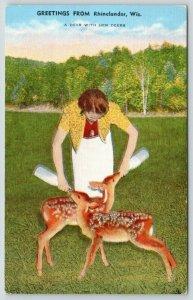 Greetings from Rhinelander WI~Lady Bottle Feeds Fawns~Dear w/ Deer~1942 Linen