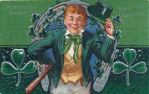 St Patrick's Day Greetings -Top Hat Horseshoe Shamrock - Erin Go Bragh - DB