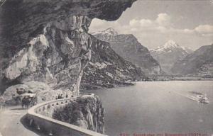 Switzerland Axenstrasse mit Bristenstock 1910