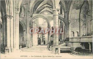 Old Postcard Nevers The Cathedral Church of Saint Cyr inside