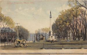 E80/ Athens County Ohio Postcard 1908 Soldiers Monument Cannon