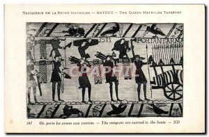 Old Postcard Tapestry of Queen Mathilde Bayeux It bears the arms ships