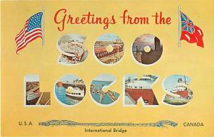 Greetings from Soo Locks USA Canada, Sault Ste. Marie Michigan, Chrome
